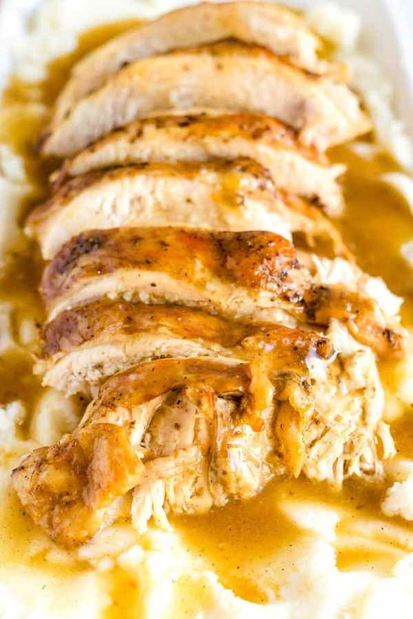 Close up picture of sliced turkey breasts.