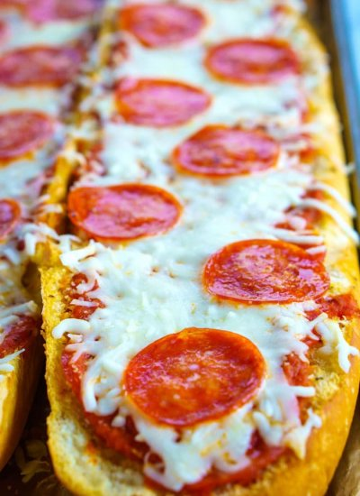 Close up picture of the finished French Bread Pizza.