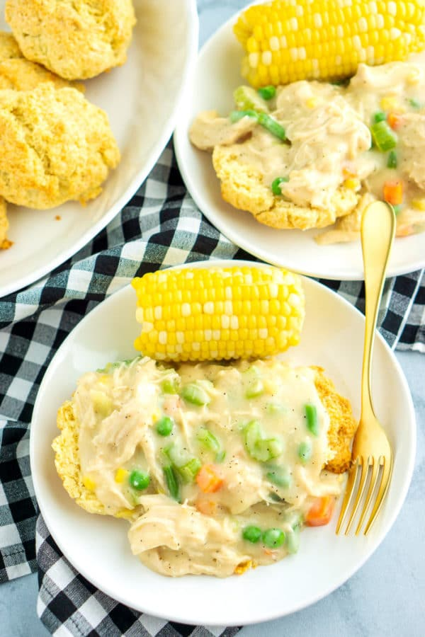 Overhead picture of Inside Out Chicken pot pie on a white plate.