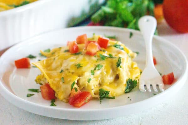 Close up picture of the green chile enchilada casserole.