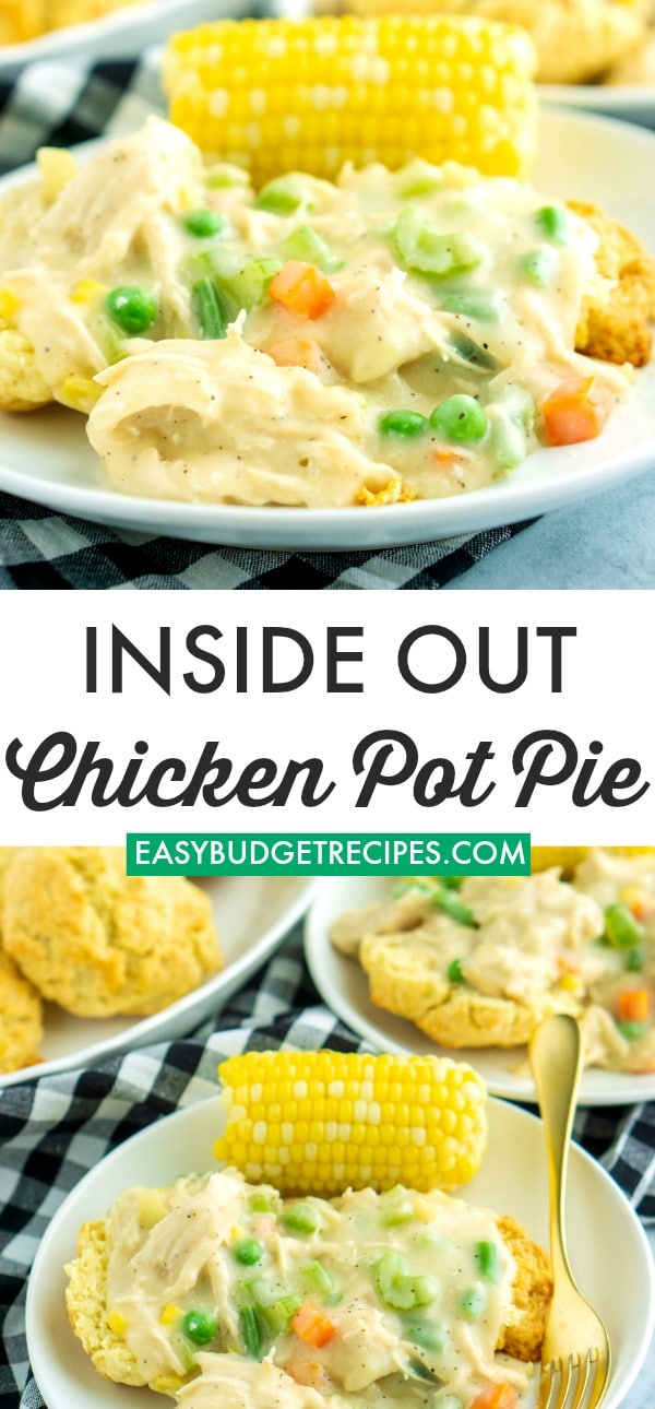 Picture collage of the pot pie for Pinterest.
