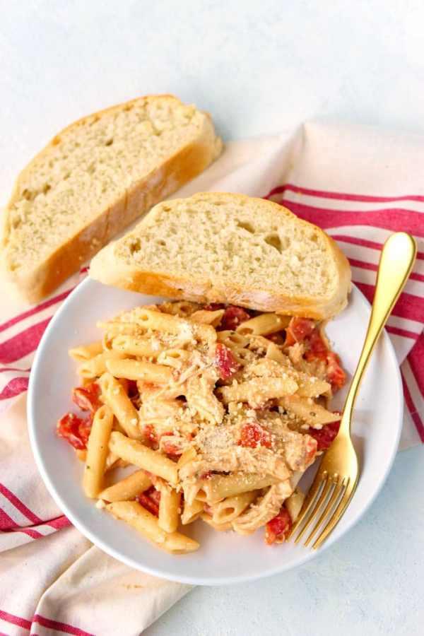 Overhead picture of Tomato Alfredo on a white plate.