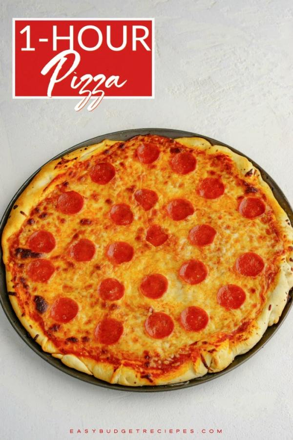 This finished pizza with text overlay for Pinterest.