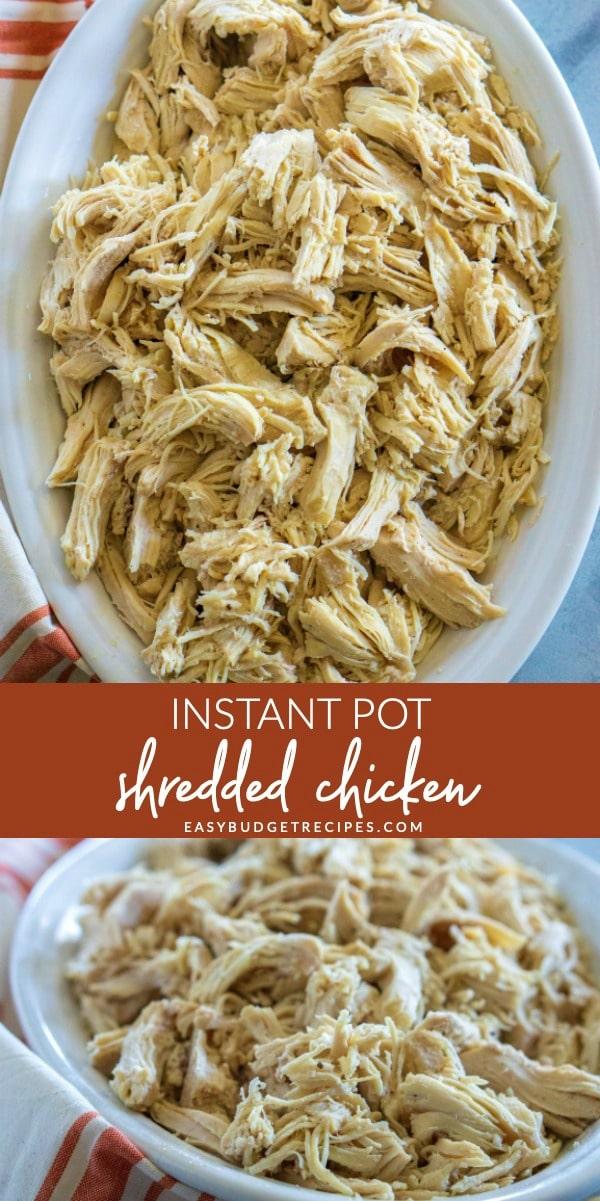 Bulk Shredded Chicken made in the Instant Pot. via @easybudgetrecipes