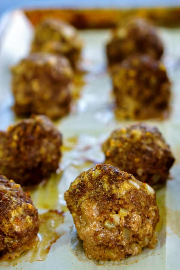 Meatballs straight from the oven.