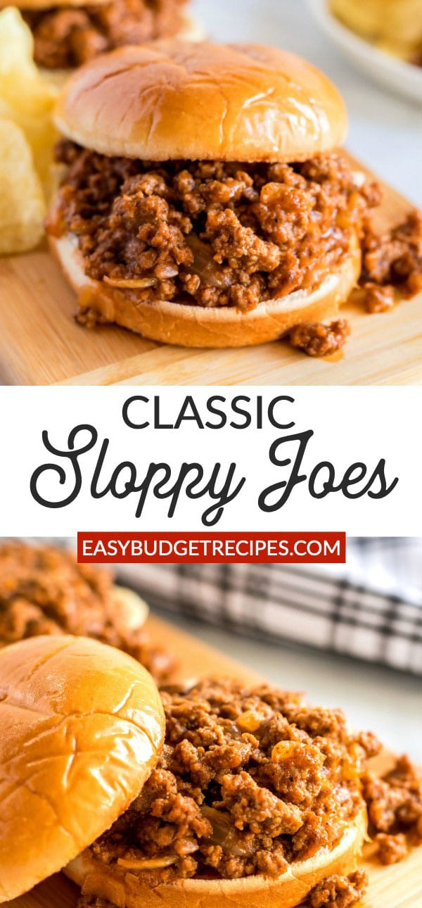 Homemade Sloppy Joes is a classic dinner recipe that is easy to make and economical too! It takes less than 30 minutes to make and costs just $9.34 for a serving of 6! via @easybudgetrecipes