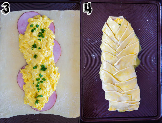 The Eggs Benedict filling on the the puff pastry.