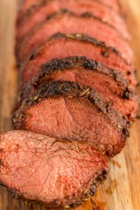 Close up picture of sliced Christmas roast.