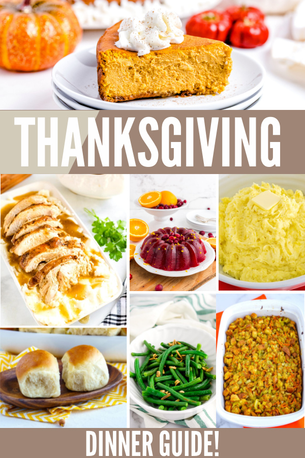 Picture Collage of Thanksgiving recipes with text overlay for Pinterest