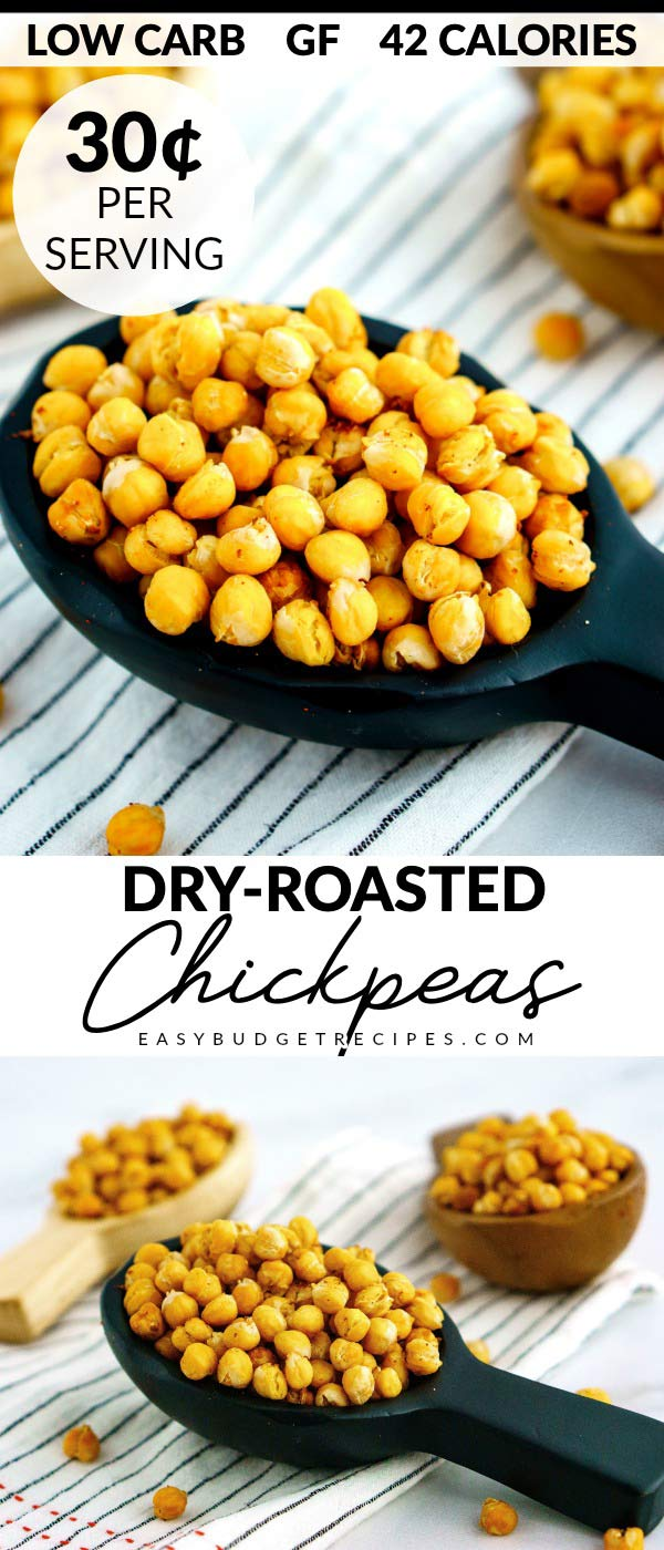 This Dry-Roasted Chickpeas recipe is a healthy, gluten-free, low-carb snack that is so easy to make. It costs $2.67 to make and just 30¢ per serving.
