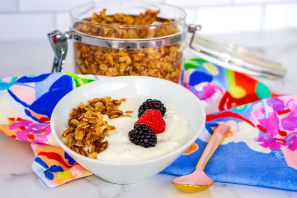 Homemade Greek yogurt in a bowl with granola and berries.