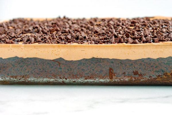 What the poke cake looks like inside of the pan.