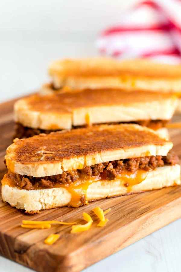 Homemade grilled cheese and sloppy joe sandwiches.