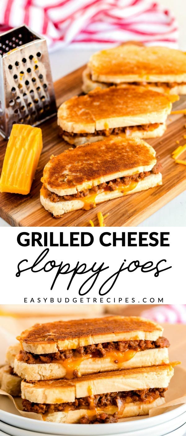 Picture collage of grilled cheese sloppy joes for Pinterest.