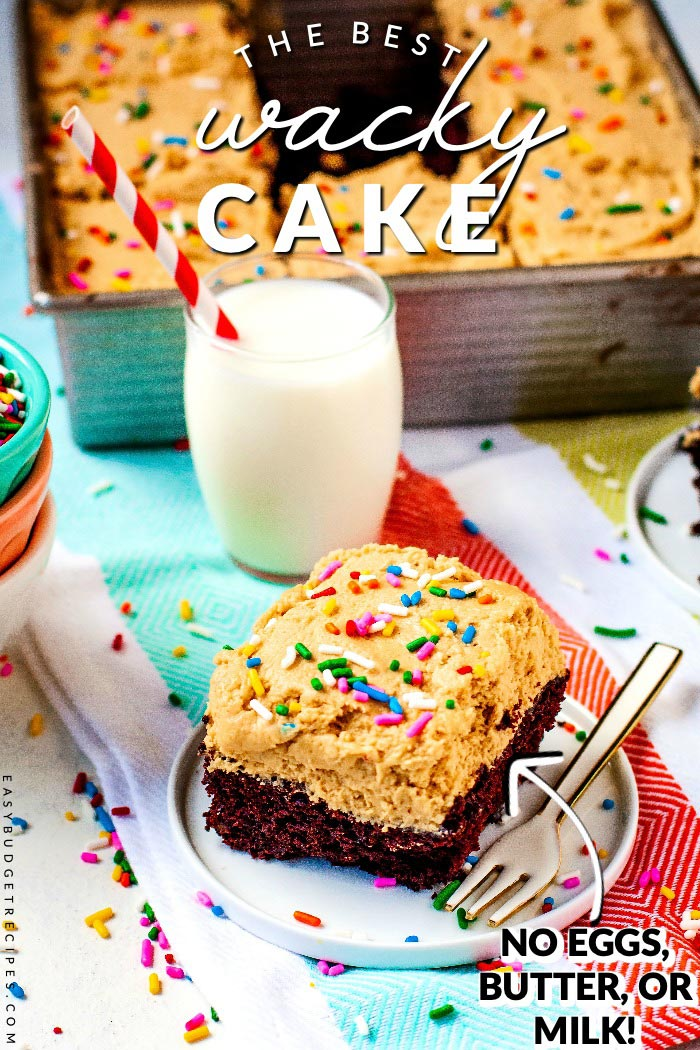 This delicious Chocolate Wacky Cake recipe was popular during the depression because it doesn't have any eggs, butter, or milk in it. This recipe serves 9 and costs $3.96 to make (including the peanut butter frosting!). That's just 44¢ per serving! via @easybudgetrecipes