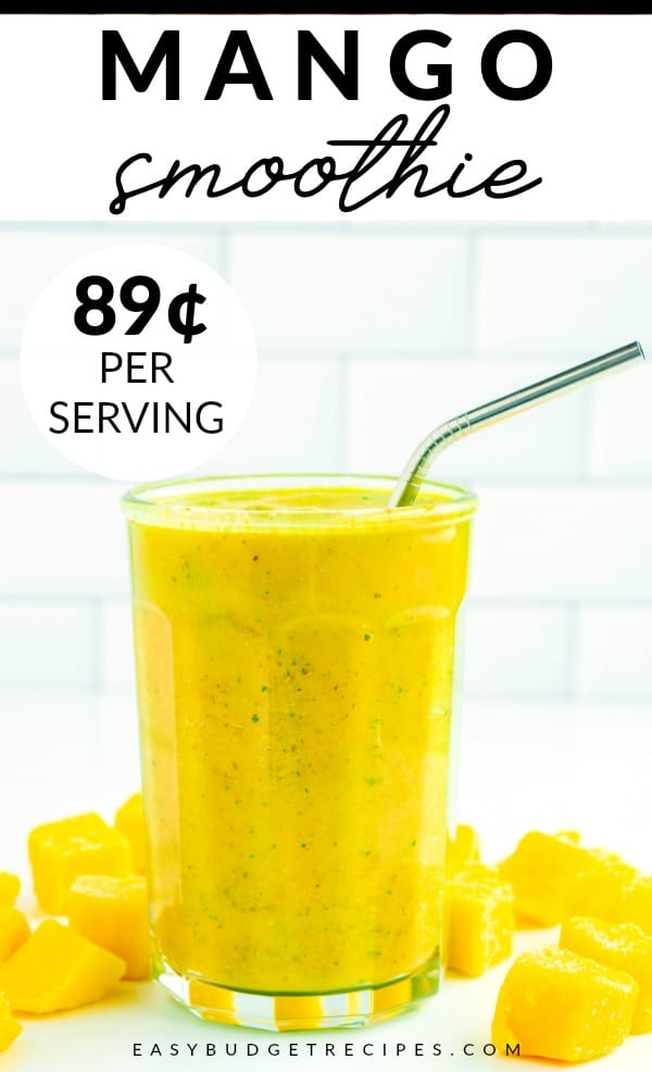 Mango Banana Smoothie with text overlay for social media.
