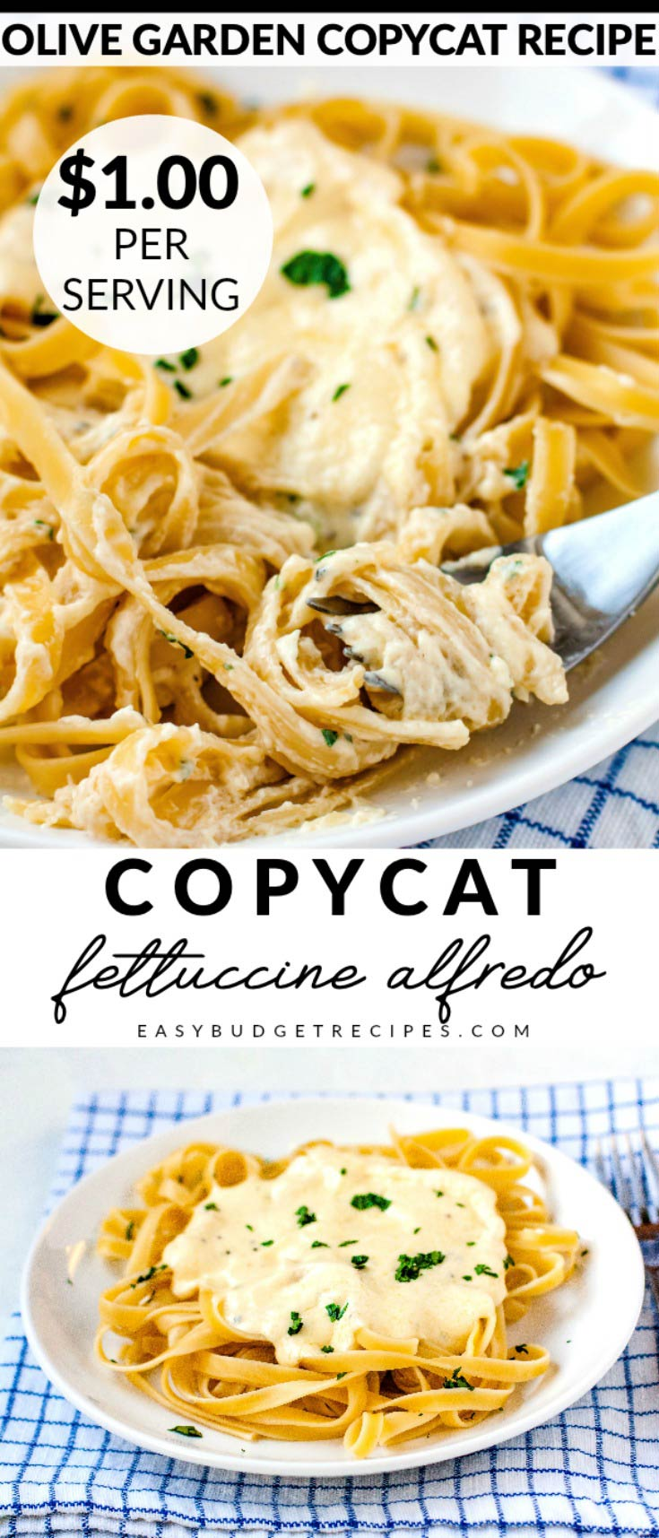 This Copycat Olive Garden Fettuccine Alfredo recipe takes just 30 minutes to make and is incredibly delicious. It serves 6 and costs $6.00 to make. That's just $1 per serving! via @easybudgetrecipes