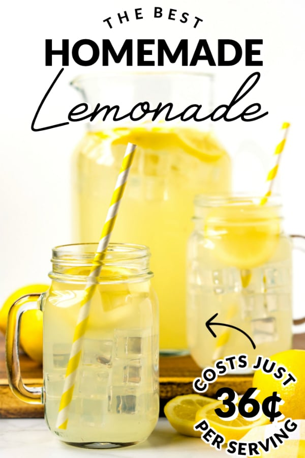 This Homemade Lemonade Recipe is refreshing and so simple to make. This recipe serves 6 and costs $2.13 to make. That's just 36¢ per serving! via @easybudgetrecipes