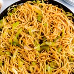 Overhead picture of copycat chow mein in a pan.