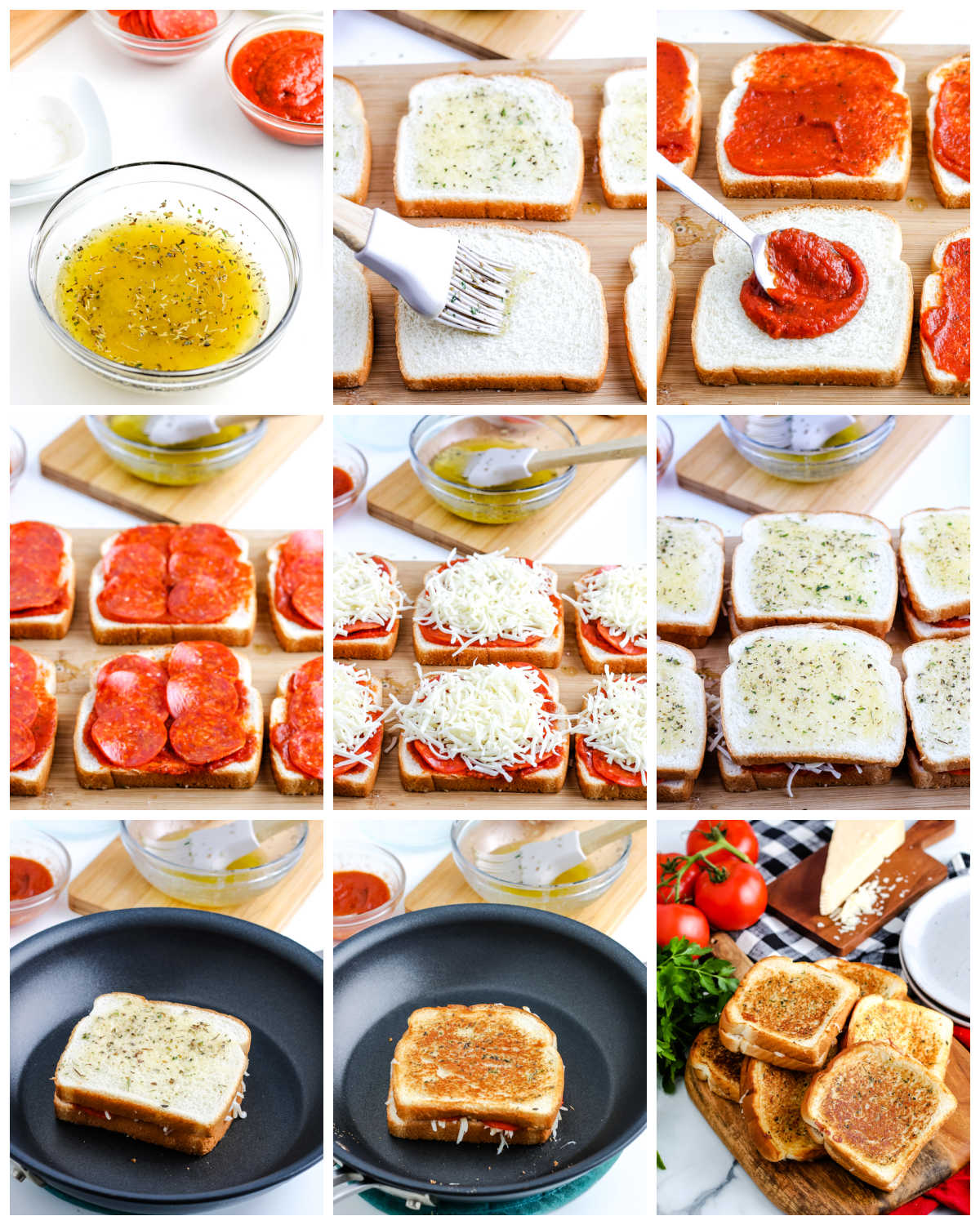 A picture collage of how to make a Pizza Grilled Cheese sandwich.