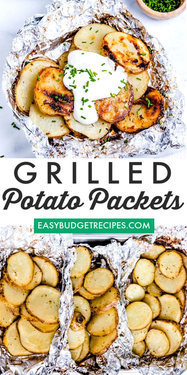 Grilled Potatoes in Foil take just 30 minutes to make. Everyone loves them, especially when they can choose their own toppings like sour cream, chives, cheese, and bacon! via @easybudgetrecipes