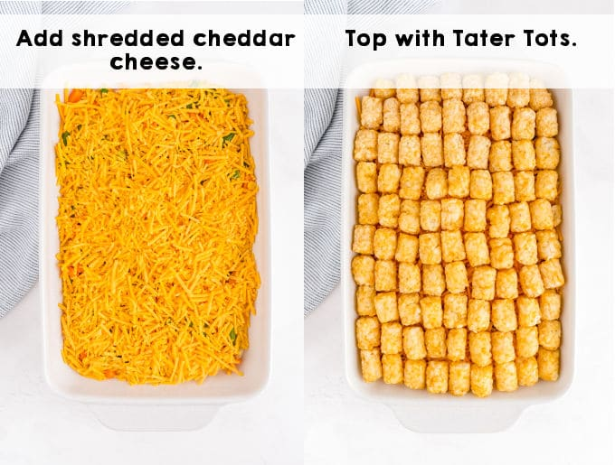 The tater tot casserole before it is baked.