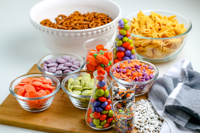 All of the ingredients needed to make this Halloween snack mix recipe.
