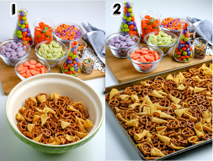 Pretzels and Bugles mixed together in a mixing bowl.
