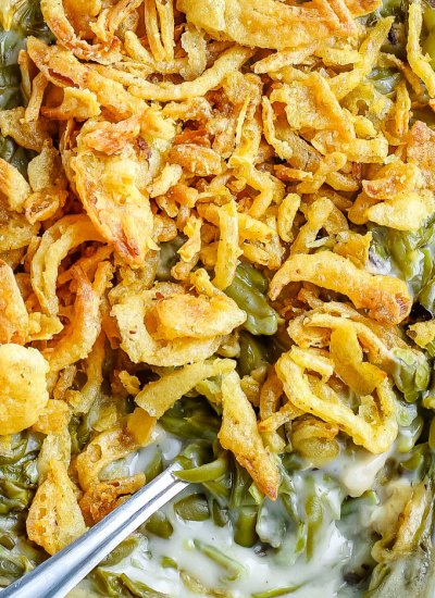 A close up overhead picture of the finished green bean casserole.