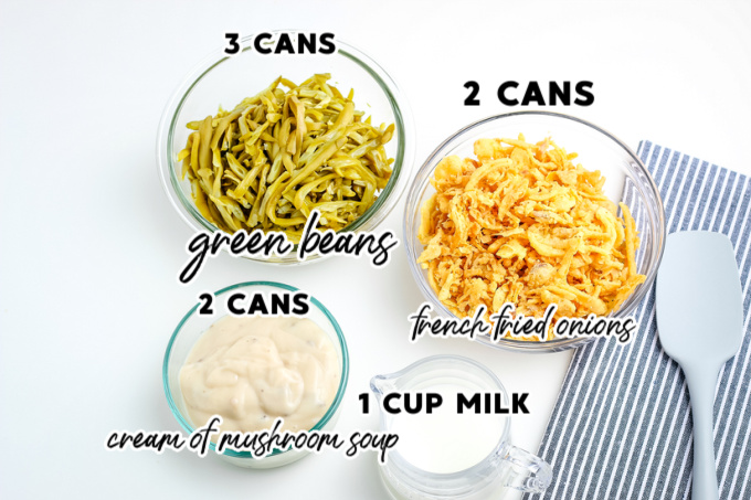 An overhead picture of all of the ingredients needed to make green bean casserole.