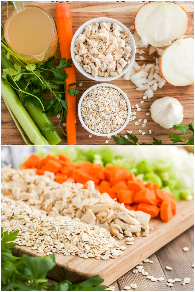 A picture collage of all of the ingredients needed to make this turkey soup.