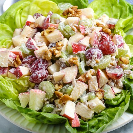 A close up picture of the finished Waldorf Salad.
