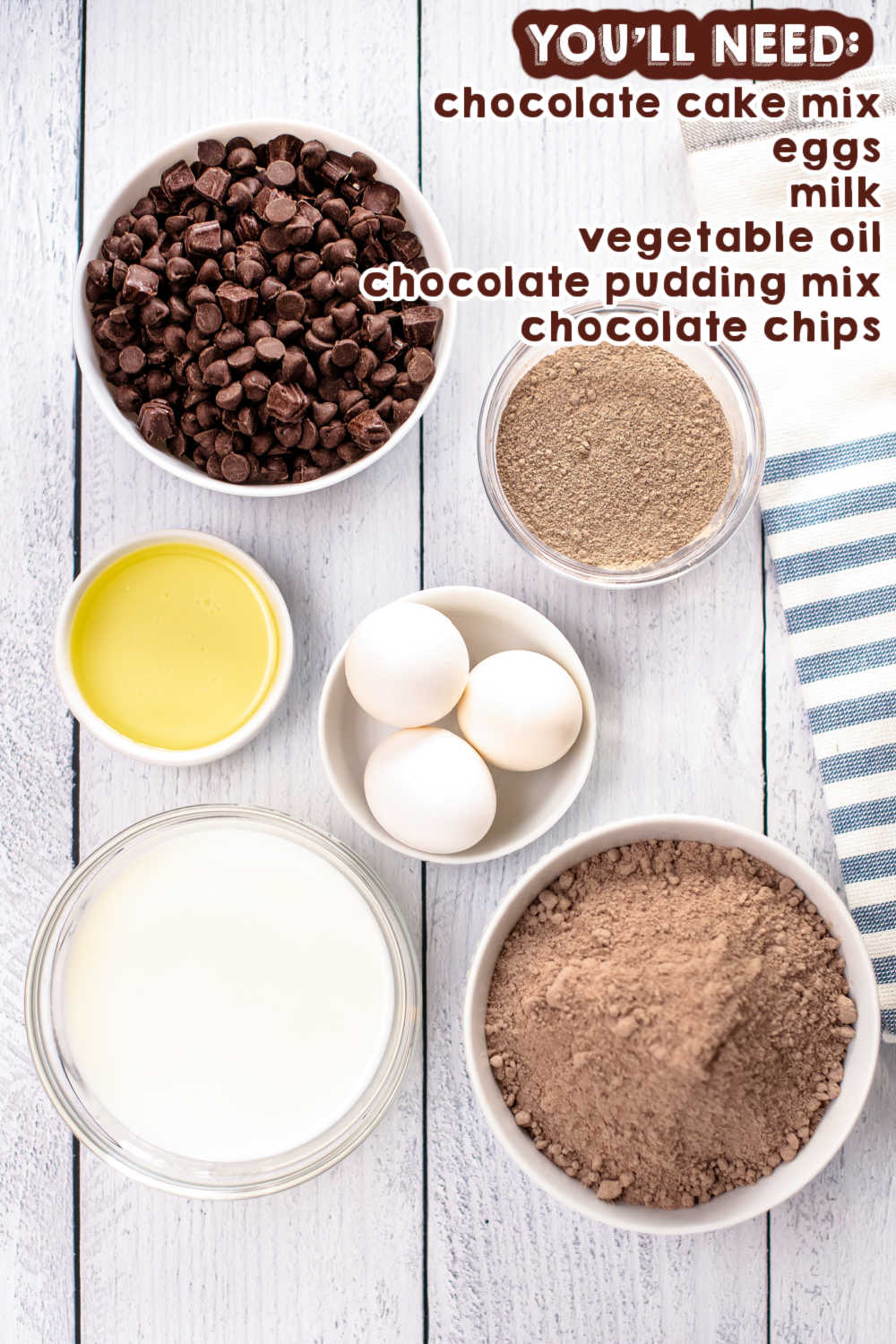 An overhead picture of all of the ingredients needed to make this Crockpot Chocolate Lava Cake recipe.