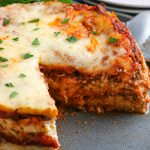 A close up picture of the finished Instant Pot Lasagna.