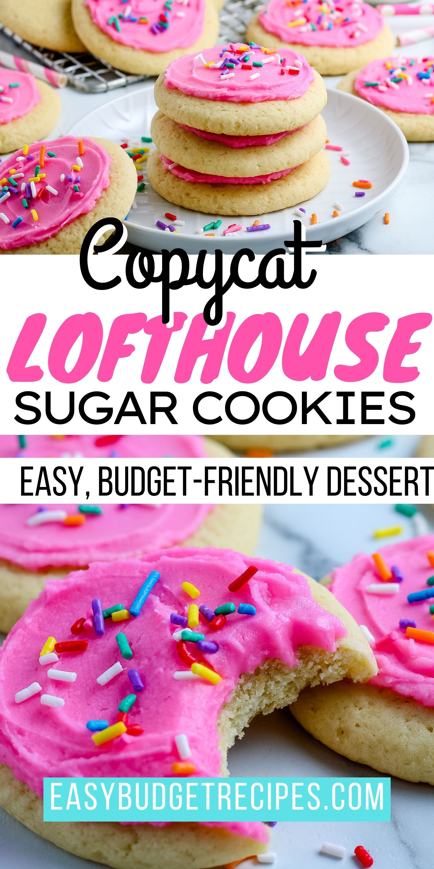 With our Copycat Lofthouse Sugar Cookies recipe, you can make your favorite store-bought frosted sugar cookie at home for so much cheaper! via @easybudgetrecipes