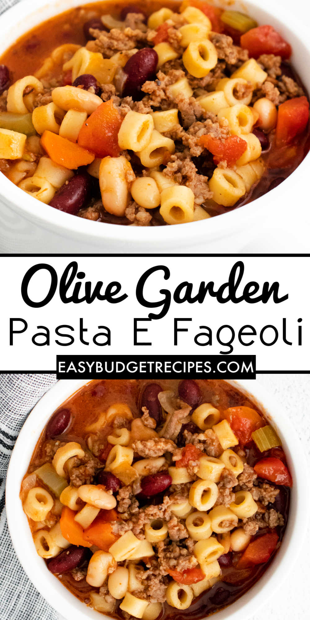 This Instant Pot Olive Garden Pasta e Fagioli Soup is a delicious copycat recipe. It's great for busy weeknights or a cozy winter weekend meal. via @easybudgetrecipes