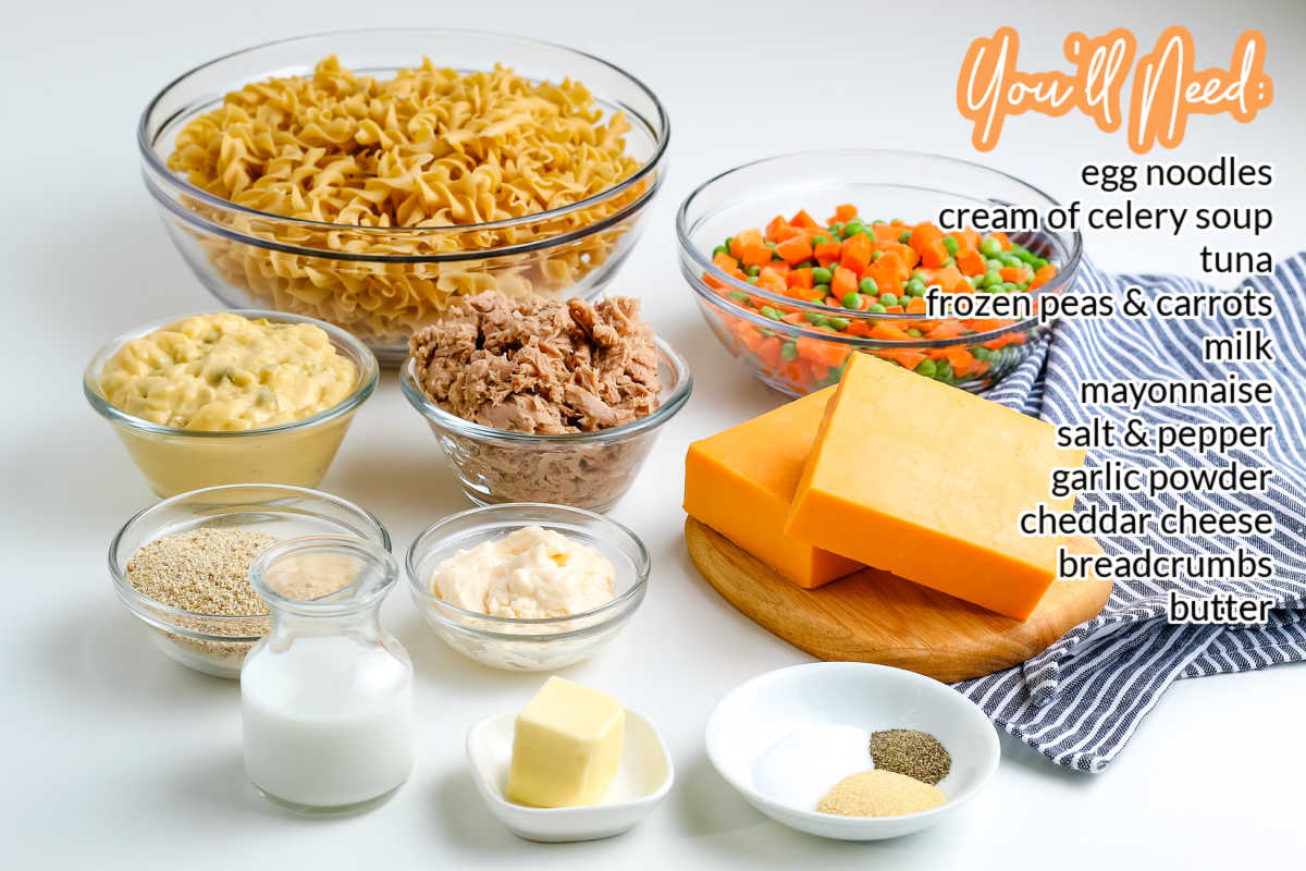 All of the ingredients needed to make this easy Tuna Noodle Casserole recipe.