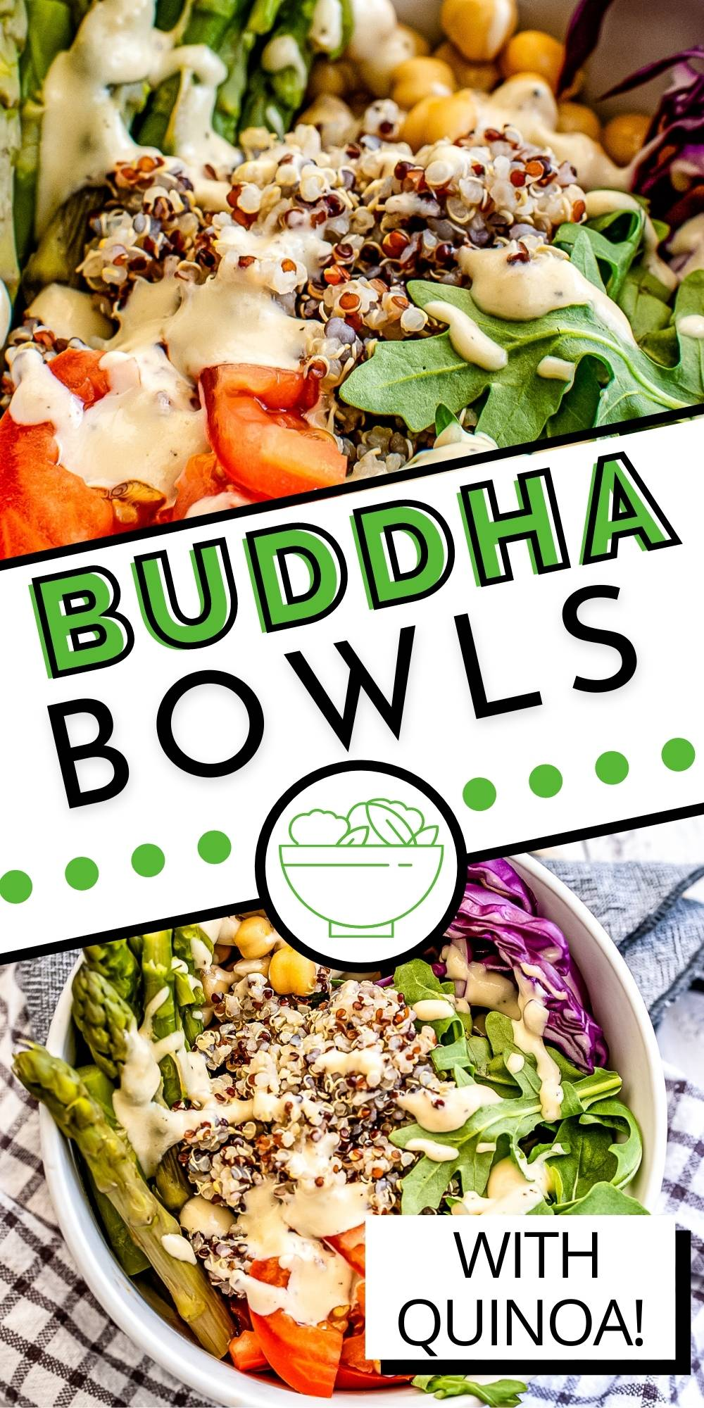These Quinoa Buddha Bowls are a healthy and delicious lunch or light dinner. They're packed with veggies and good-for-you ingredients like quinoa and chickpeas.  via @easybudgetrecipes