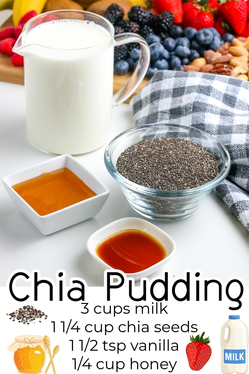 All of the ingredients needed to make Chia Pudding.