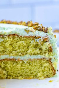 A close up picture of the inside of the Pistachio Pudding Cake.
