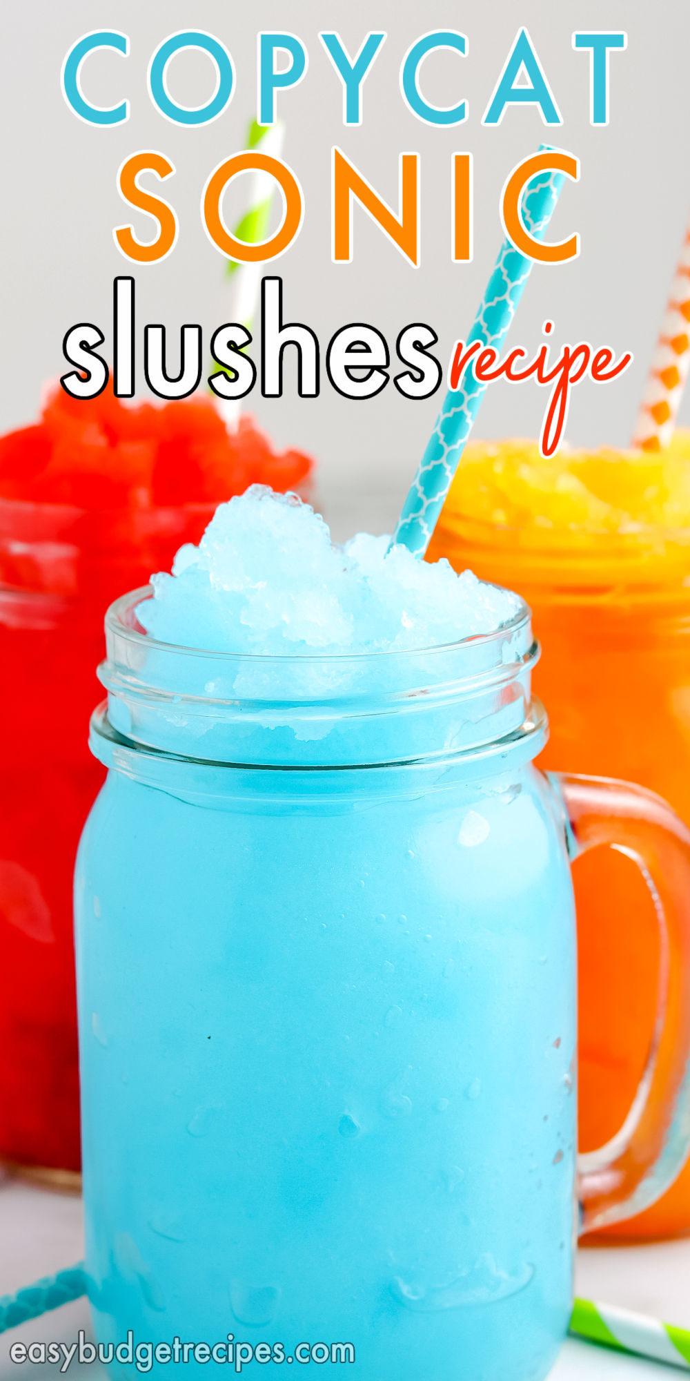 Learn how to make Copycat Sonic Slushes at home. Customize each batch with different flavors and toppings like whipped cream, ice cream, and candy.  via @easybudgetrecipes