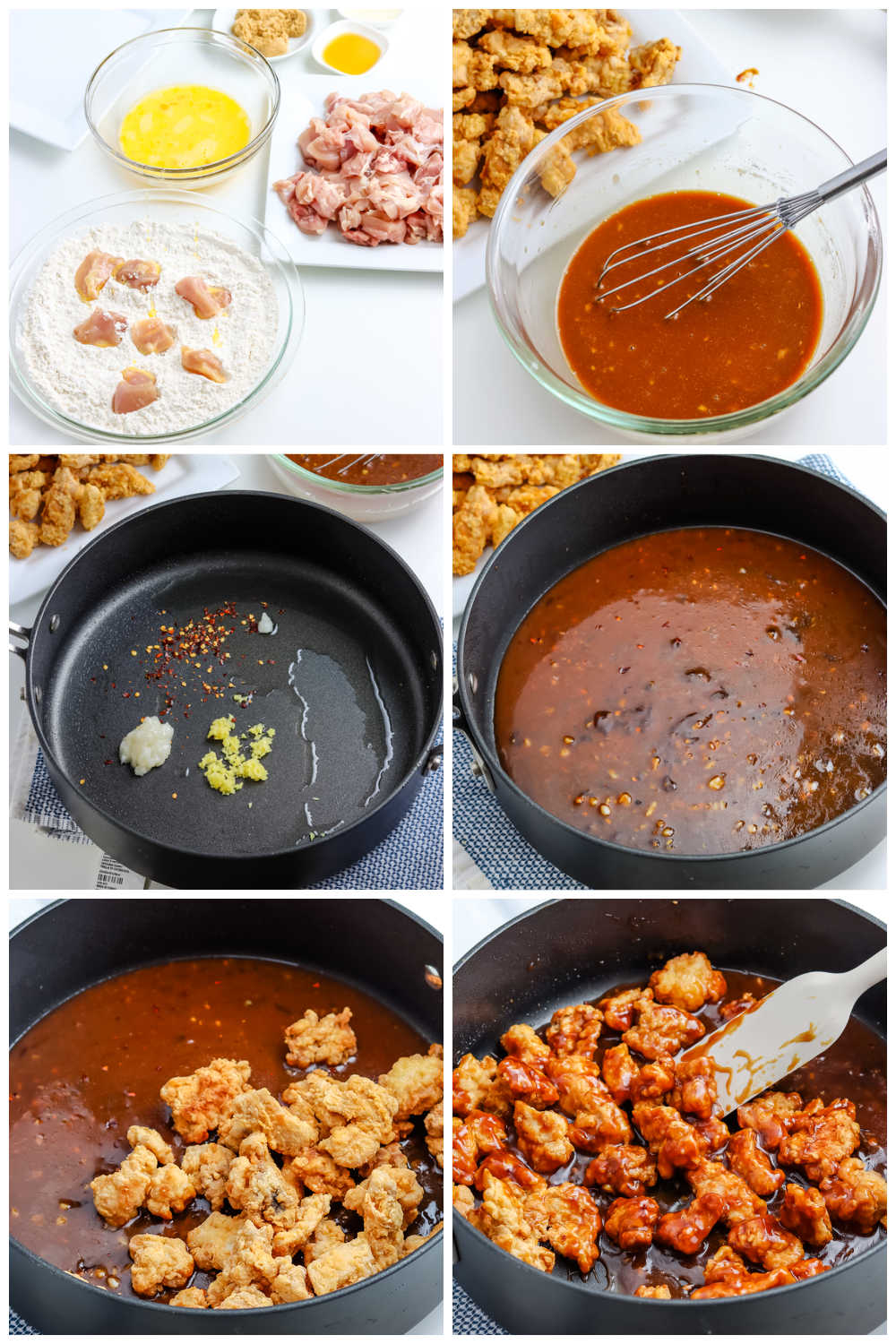 A picture collage of how to make General Tso Chicken.