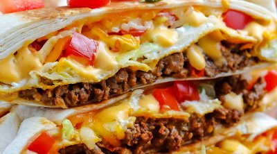 A close up picture of a copycat Taco Bell Crunchwrap.