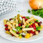5 Bean Salad on a white plate.