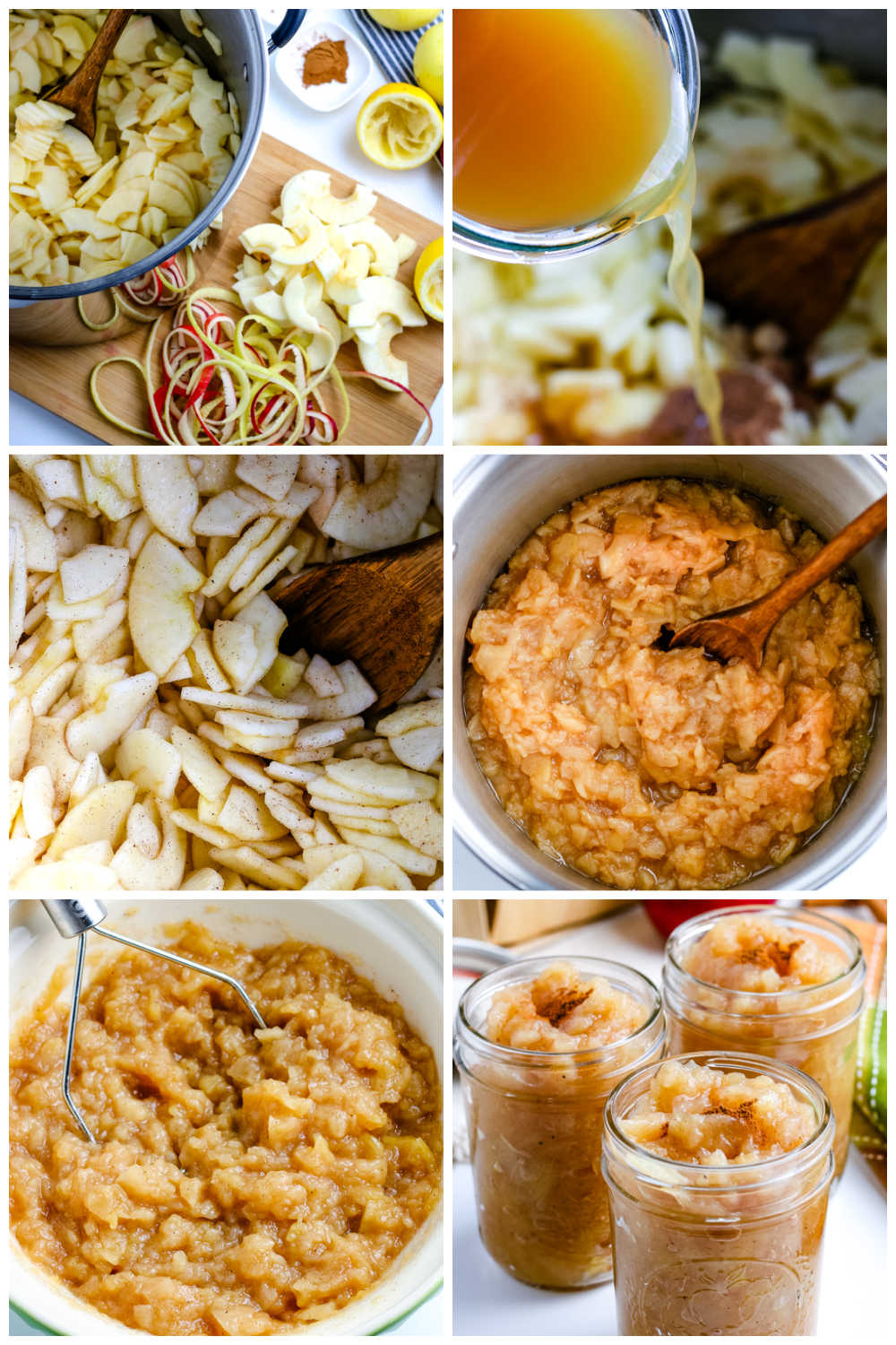A picture collage of how to make homemade applesauce.