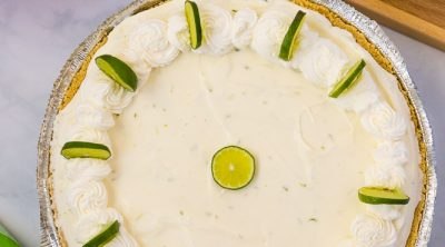 An over head picture of the finished no-bake key lime pie.
