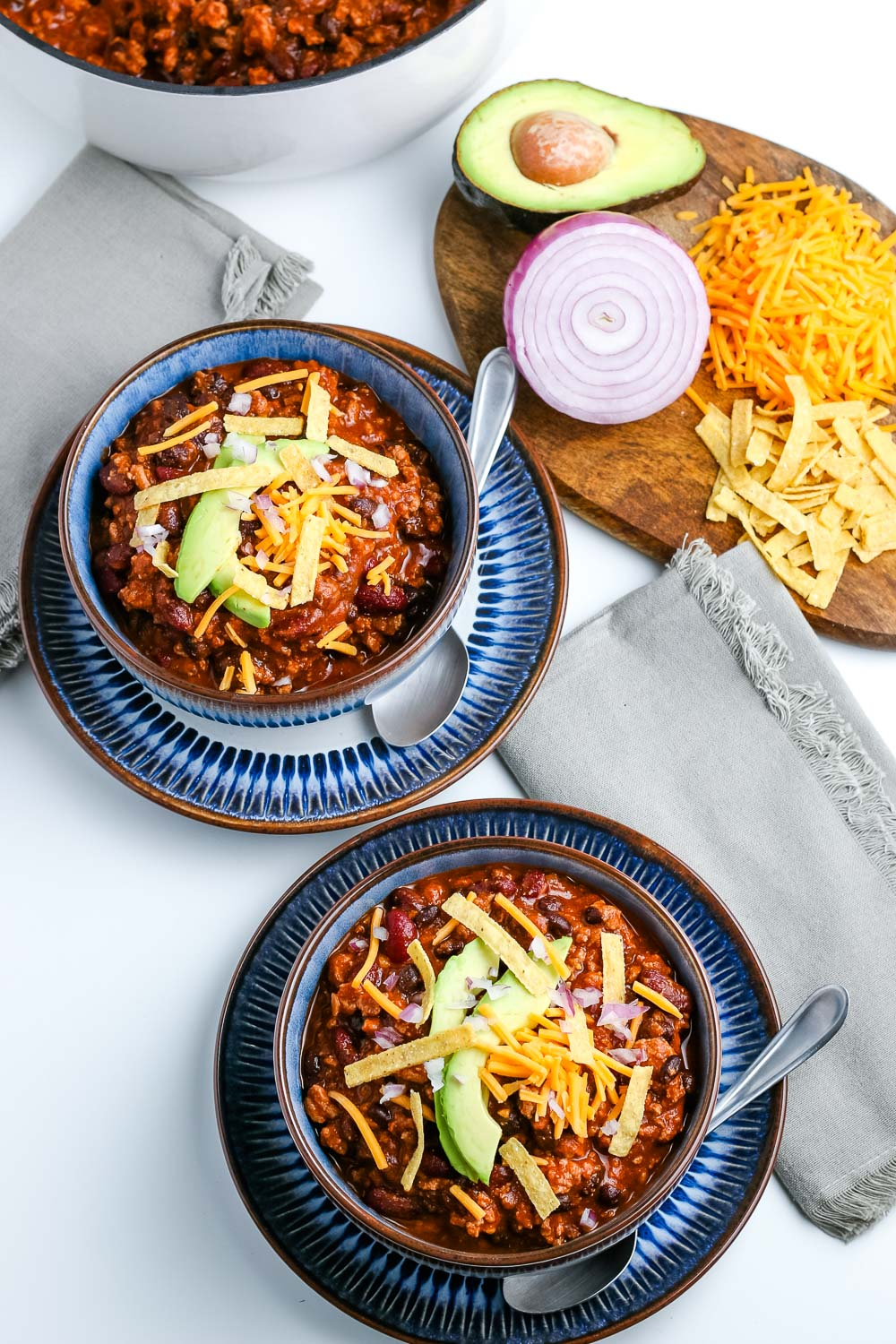An overhead picture of two bowls of Ground Turkey Chili.