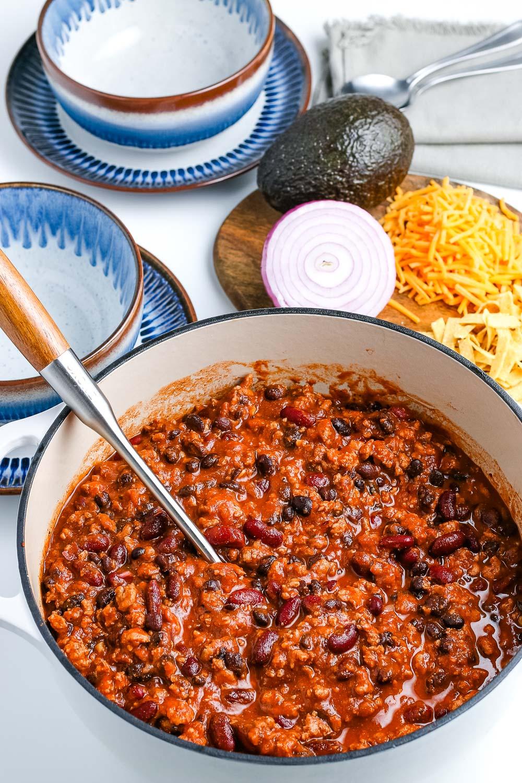 A big pot full of Ground Turkey Chili.