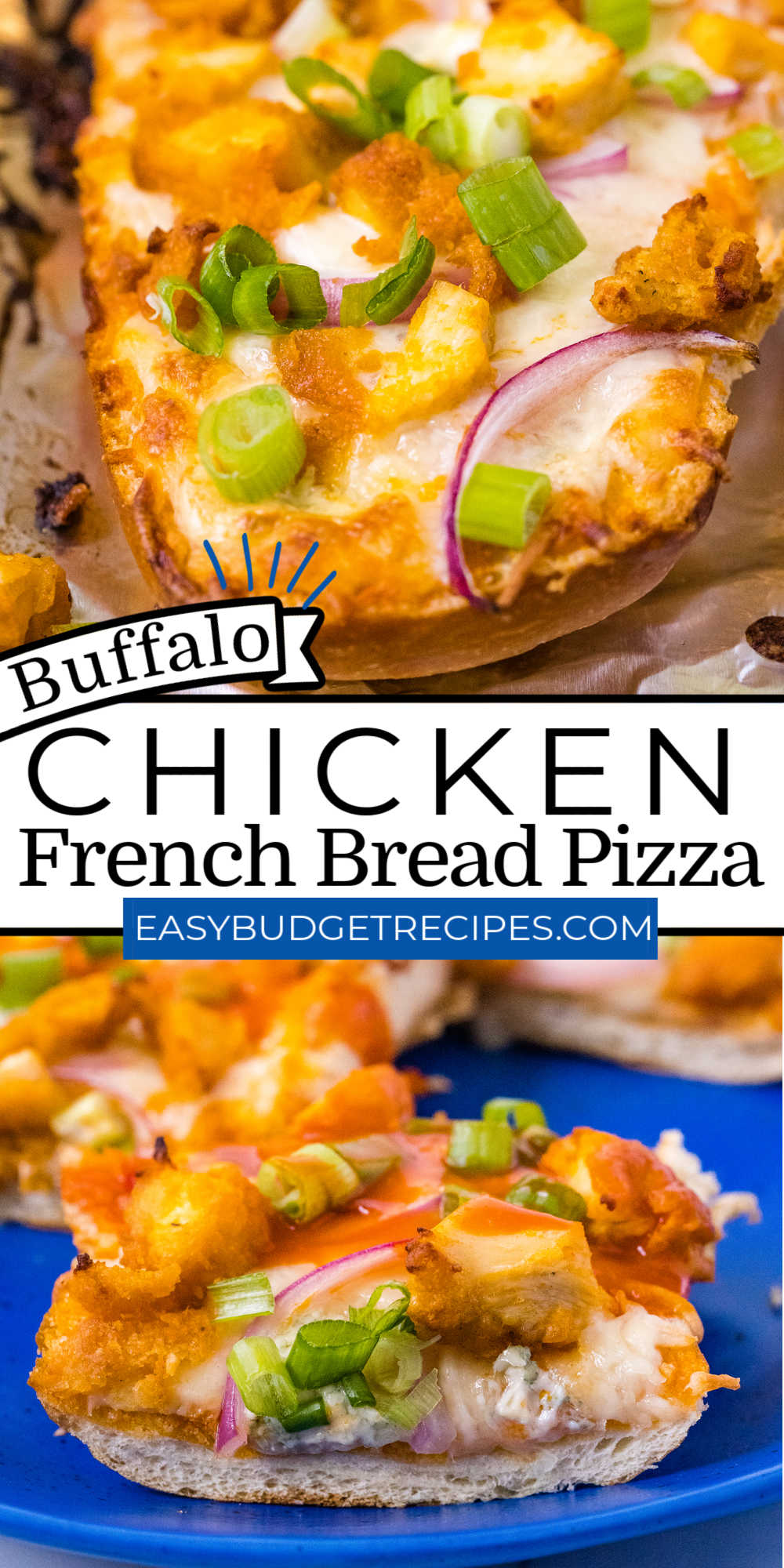 This Buffalo Chicken French Bread Pizza is an easy weeknight meal that is every bit as delicious as it is easy to prepare. It's layered with the flavors of everyone's favorite Buffalo chicken wings. via @easybudgetrecipes