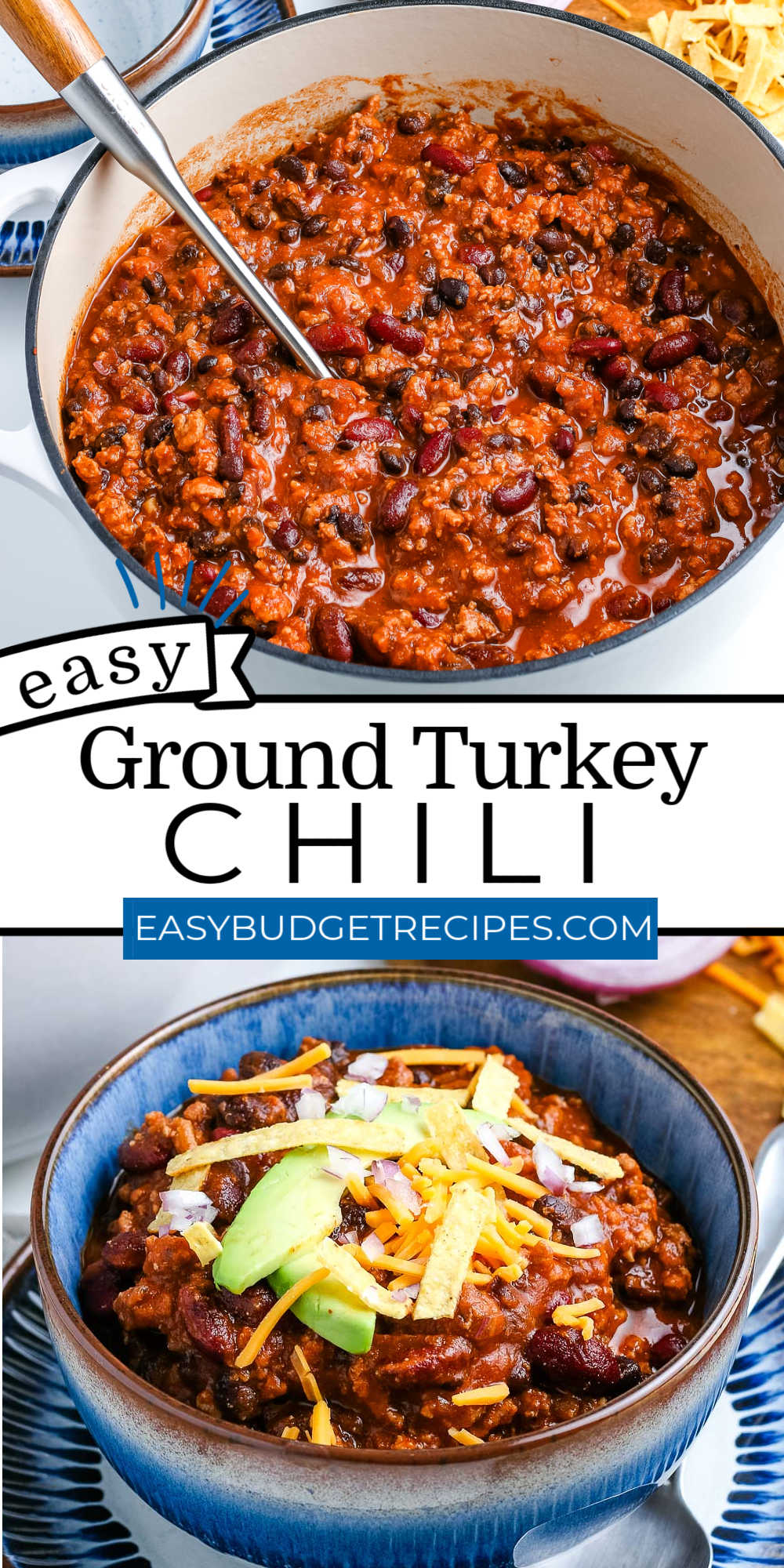 This Ground Turkey Chili is a simple and hearty recipe that packs many flavors and tastes even better the next day!  via @easybudgetrecipes